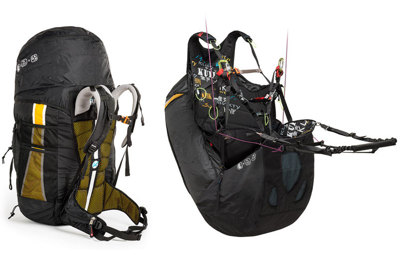 Kortel Kuik II paraglding harness with reversable backpack-airbag module in South Afrika by XC Paragliding